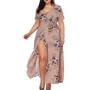 Dresses & Skirts - 💐Plus Size Nude Floral Wrap Tie Maxi Dress,1X-7X